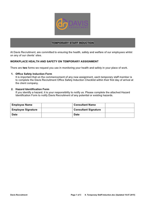 Site Safety Induction Template  Resume Ideas  NamanasaCom